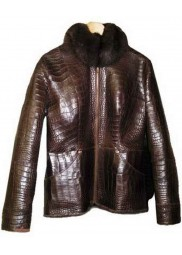 Alligator Leather Fur Jacket For Women