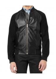 Andrew Garfield Black Leather Jacket with Suede Sleeves