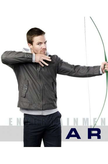Arrow Stephen Amell Grey Leather Jacket