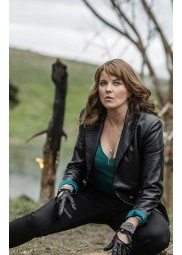 Ruby Ash vs Evil Dead Lucy Lawless Leather Blazer