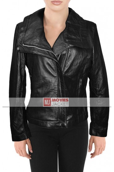 Asymmetrical Style Alessandra Ambrosio Leather Jacket