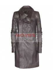 Asymmetrical Style Biker Black Long Leather Jacket For Ladies