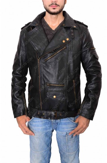 Men's Biker Style Asymmetrical Zipper Slim Fit Black Leather Jacket