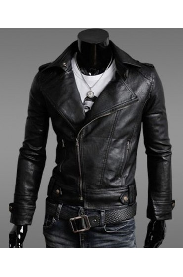 Men's Slim Fit Asymmetrical Zip Black Faux Leather Jacket