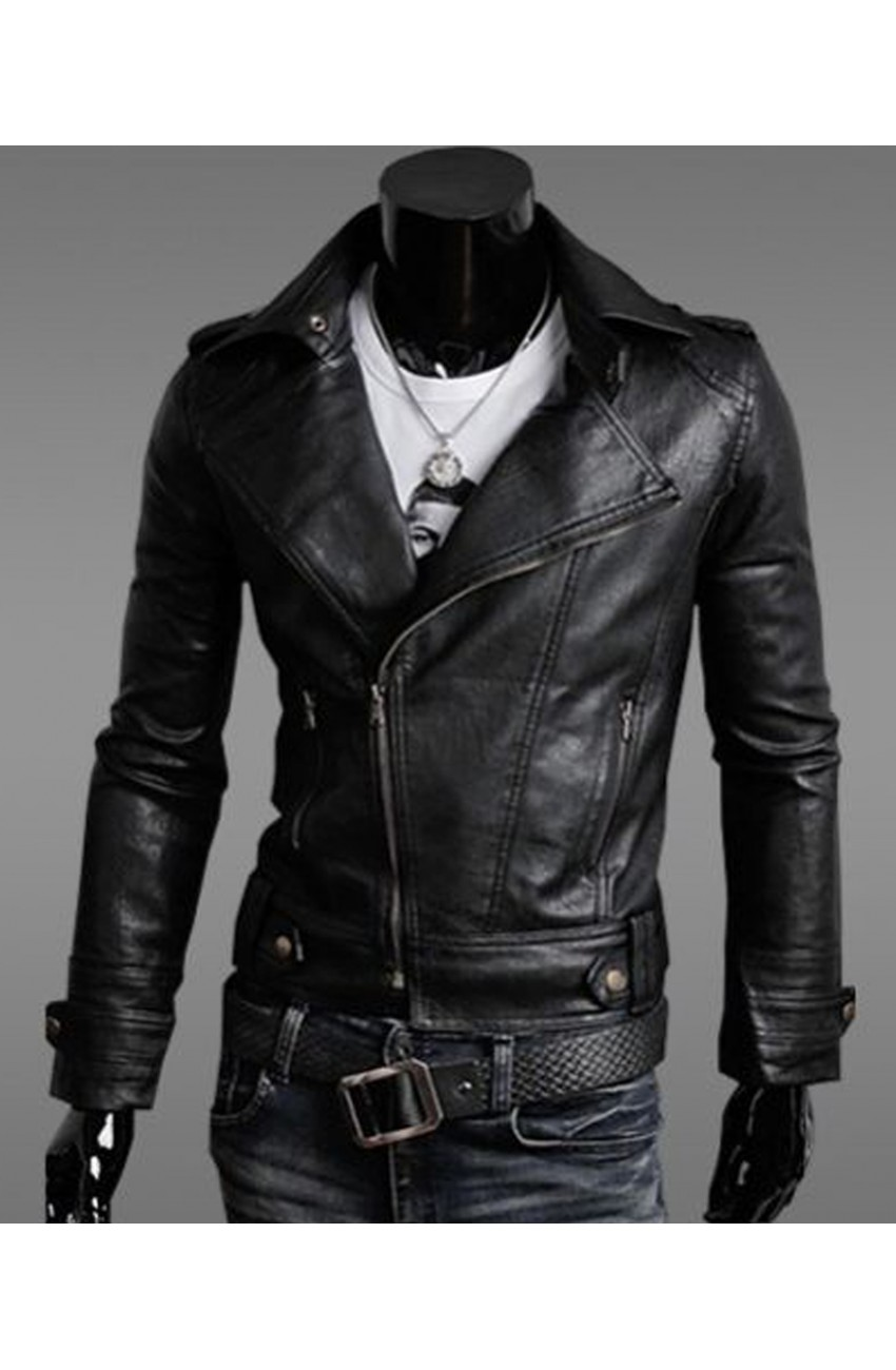 96602e5c7efa Men's Black Faux Leather Jacket - Slim Fit Asymmetrical Zip Jacket - Movies  Jacket
