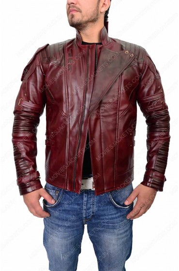 """Avengers Infinity War Star Lord Leather Jacket """"Free T-Shirt"""""""