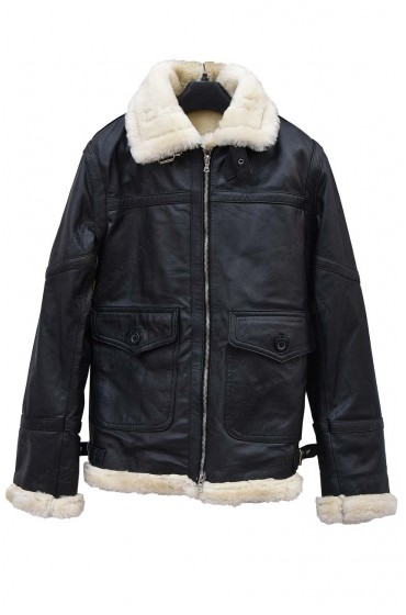 Womens Aviator Ivory Black Leather Shearling Jacket