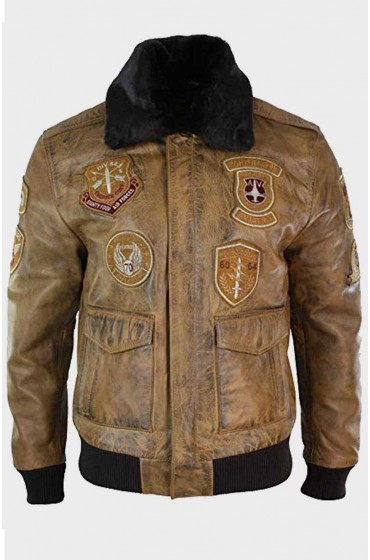 Mens Aviator Tan Leather Patches Jacket