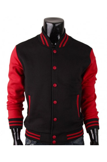 Red And Black Varsity Jacket Baseball Style