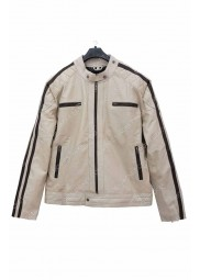 Beige Leather Jacket for Mens