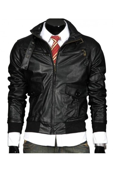 Men's Belted Bucckle Collar Slim Fit Black Leather Jacket