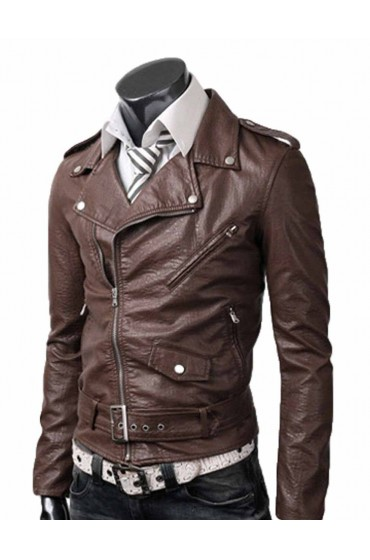 Belted Rider Slim Fit Light Brown Leather Jacket