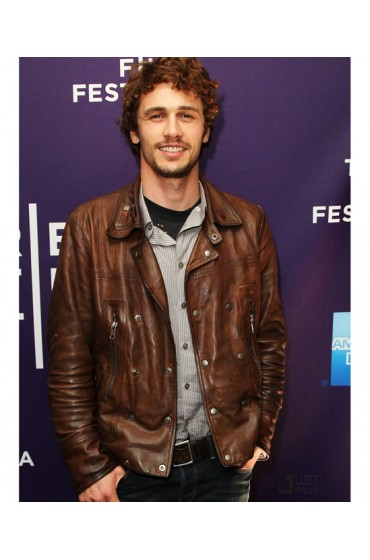 Biker Style James Franco Brown Leather Jacket for Mens