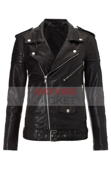 Biker Style Kim Kardashian Black Leather Jacket