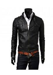 Slim Fit Men's Biker Style Black Faux Leather Jacket