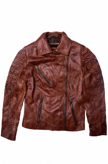 Women Biker Tan Brown Leather Jacket