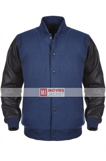 Men's Casual Wear Black and Blue Varsity Jacket