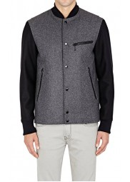 Men's Grey Varsity Jacket with Black Leather Sleeves