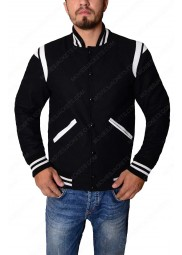 Black and White Stripped Varsity Jacket