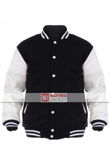 Men's Casual Wear Black and White Varsity Jacket