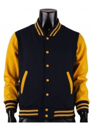 Men's Casual Wear Black and Yellow Varsity Jacket