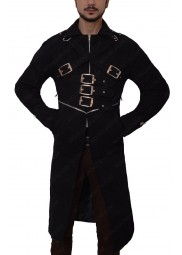 Black Belted Cotton Long Coat