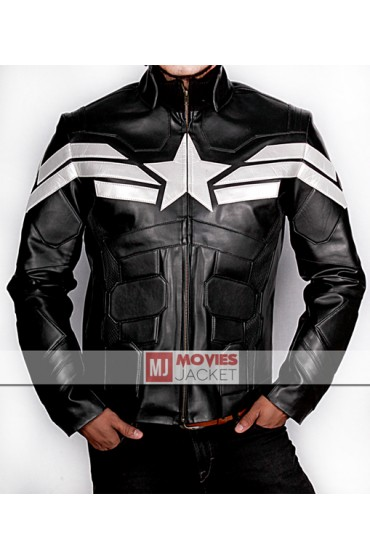 Captain America The Winter Soldier in Black Leather Jacket