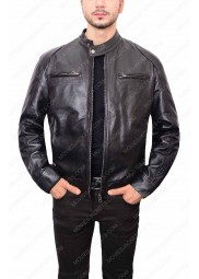 Black Double Pocket Biker Leather Jacket