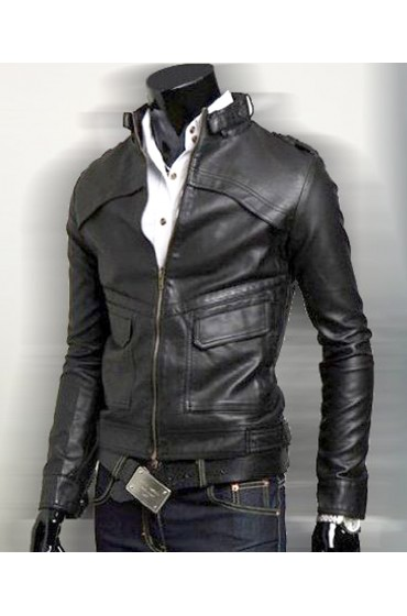Men's Slim Fit Black Faux Leather Biker Style Jacket