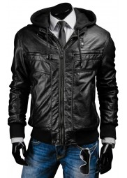Men's Slim Fit Black Leather Jacket with Hoodie