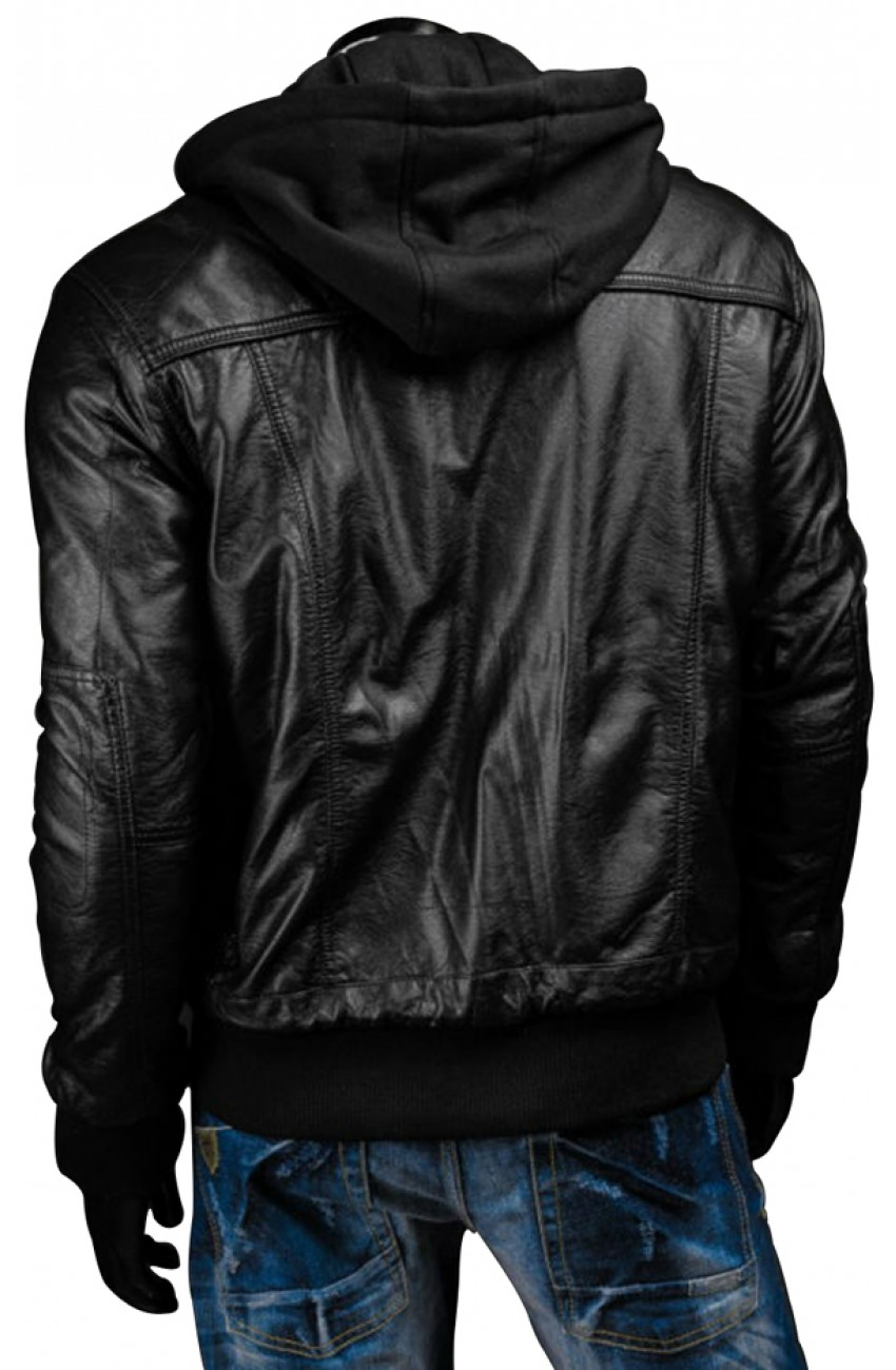 Black Leather Jacket with Hoodie - Men's Slim Fit Black ...