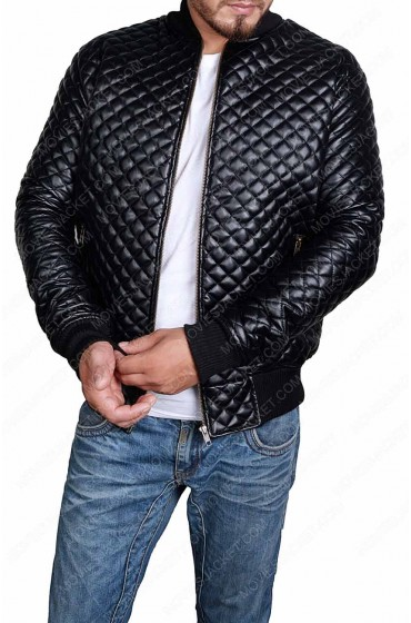 Slim Fit Black Leather Quilted Jacket for Men