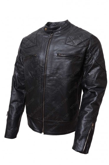 Biker Shoulder Quilted Black Leather Jacket