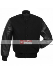 Men's Black Varsity Jacket with Antique Black Leather Sleeves