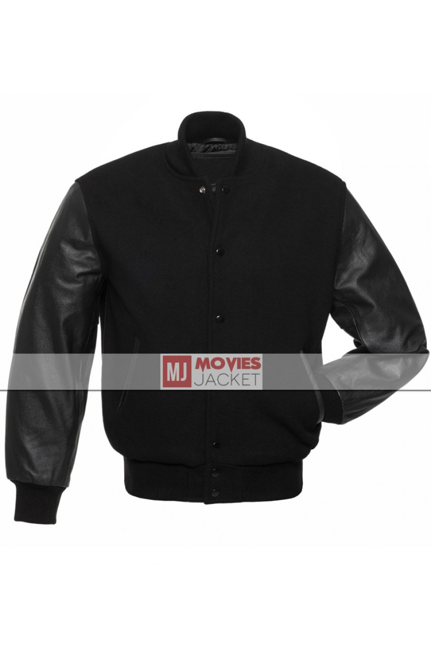 Men S Black Varsity Jacket With Antique Black Leather Sleeves