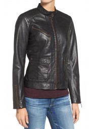Women's Black Biker Casual Jacket