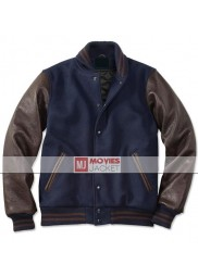 Men's Casual Wear Dark Blue and Brown Varsity Jacket