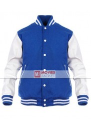 Men's Casual Wear Blue and White Varsity Jacket