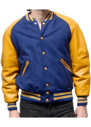 Men's Casual Blue and Yellow Varsity Jacket