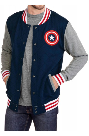 Blue Captain America Varsity Jacket with Gery Sleeves