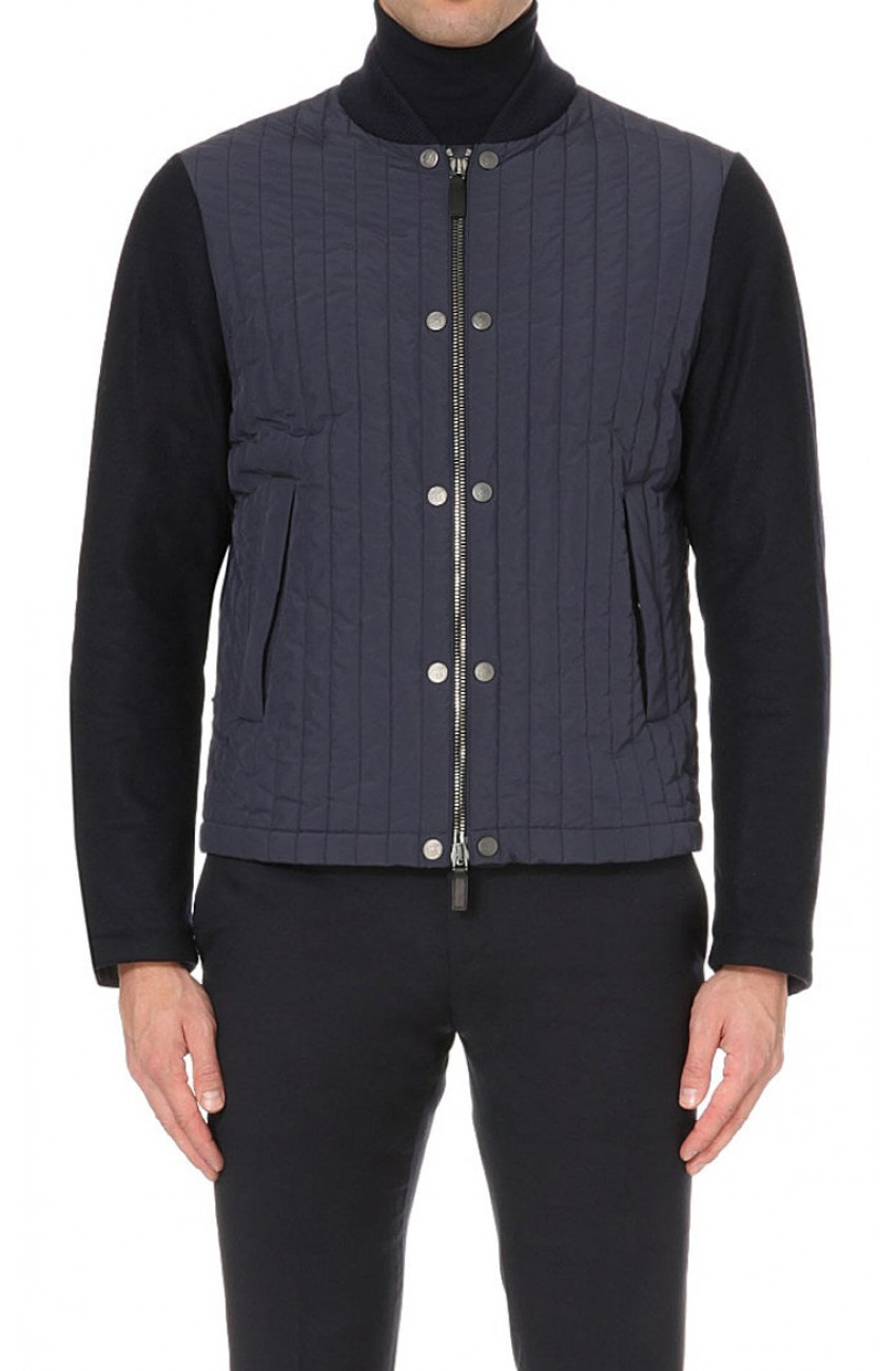 Mens Casual Wear Blue Quilted Varsity Jacket