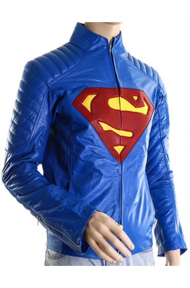 Blue Superman Man of Steel Leather Jacket