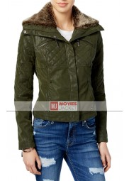 Women's Green Quilted Faux Leather Bomber Jacket with Fur Collar