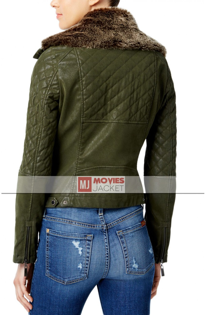Green Faux Leather Bomber Jacket With Fur Collar Womens Movies Jacket