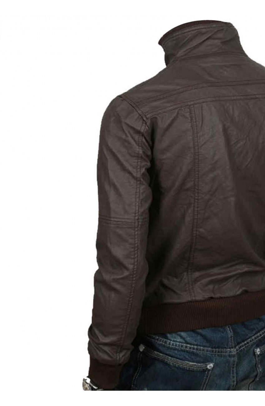 fa0cf9d0a Slim Fit Brown Leather Jacket - Men's Bomber Style Jacket - Movies Jacket
