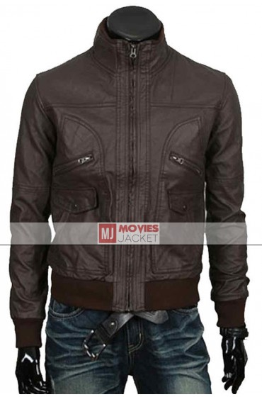 Men's Bomber Style Slim Fit Brown Leather Jacket