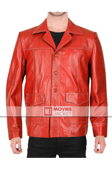 Brad Pitt Tyler Durden Fight Club Red Leather Jacket