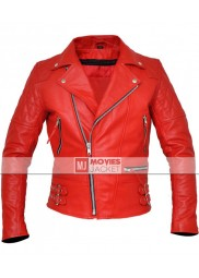 Men's Brando Style Red Leather Biker Jacket