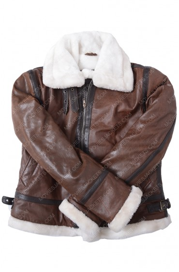 Brown Aviator Womens Distressed Jacket