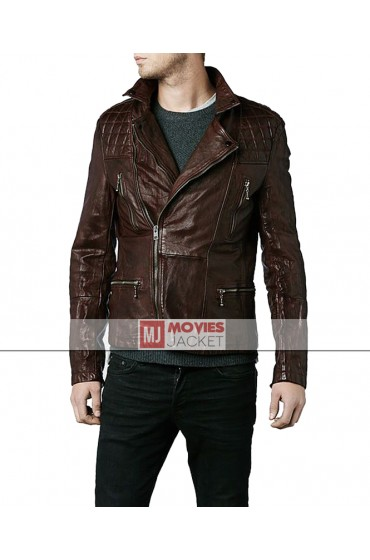Eddie Redmayne Brown Leather Quilted Motorcycle Jacket